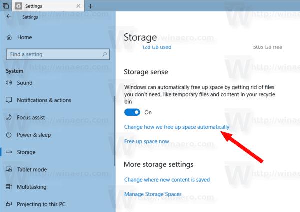 Storage Sense Link Windows 10