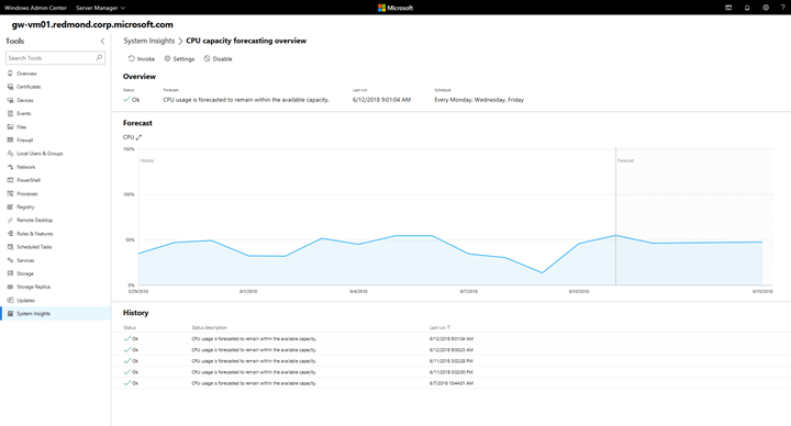 System Insights Server 2019