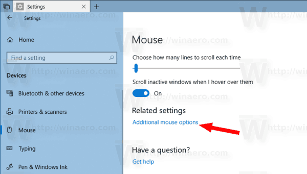 WIndows 10 Additional Mouse Options Link