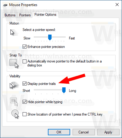 WIndows 10 Enable Mouse Pointer Trails