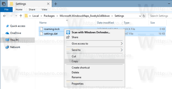 Windows 10 Backup Maps App Settings