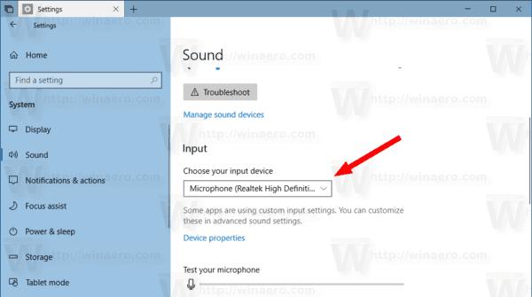 Windows 10 Change Default Sound Input Device 1