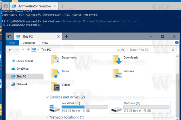 Windows 10 Change Drive Label PowerShell