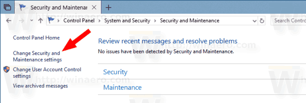 Disable Security and Maintenance Notifications in Windows 10