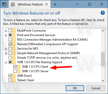 Windows 10 Enable SMB1