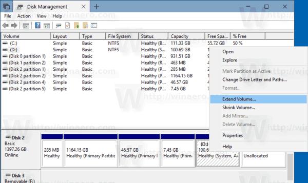 Windows 10 Extend Parition