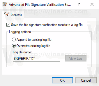 Windows 10 File Signature Verification Advanced Options