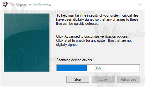 Windows 10 File Signature Verification Process