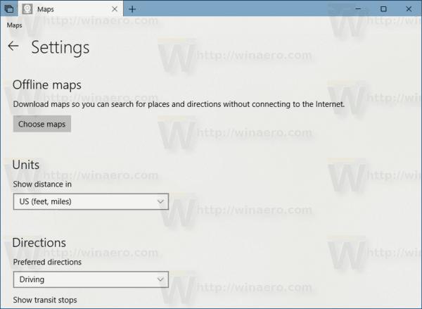 Windows 10 Maps App Settings