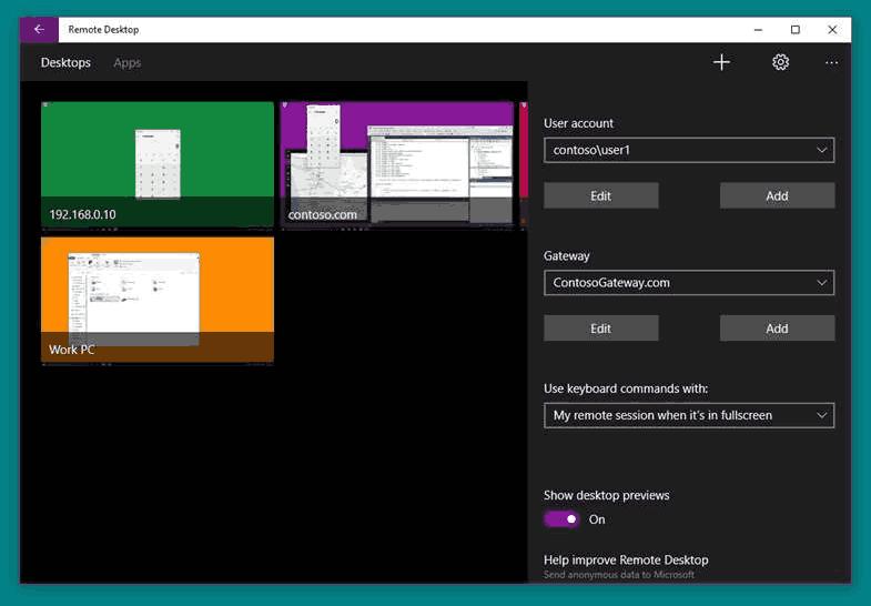 Windows 10 Remote Desktop App Screenshot 2