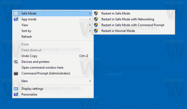 Windows 10 Safe Mode Context Menu