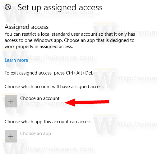 Windows 10 Setup Assigned Access Choose Account