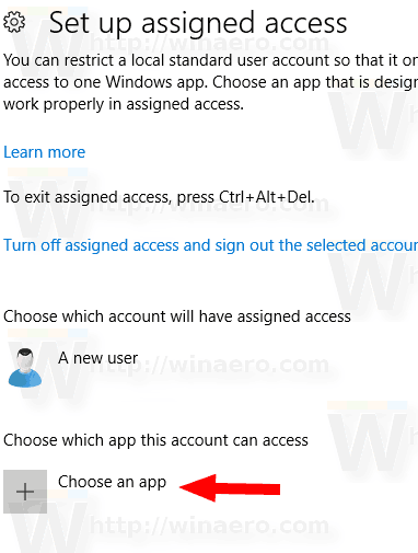 Windows 10 Setup Assigned Access Choose An App Link