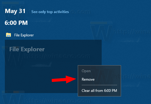 Windows 10 Task View With Timeline Remove Activity From A Hour