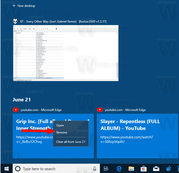 Windows 10 Task View With Timeline Remove Specific Activity