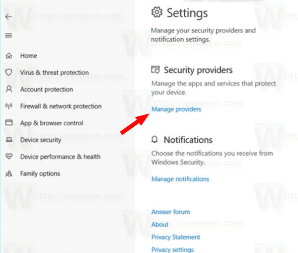 Windows Security Manage Providers Link