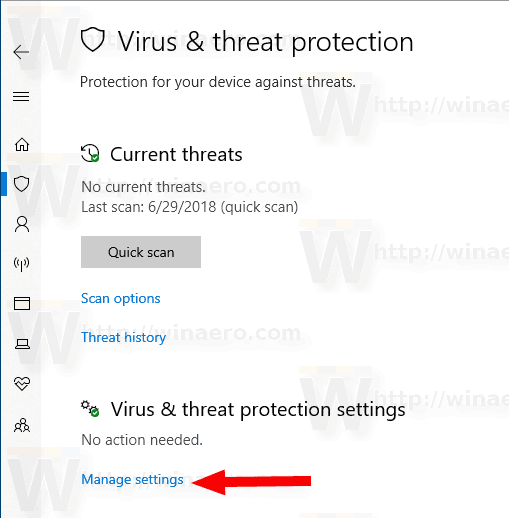 Windows Security Virus And Threat Manage Settings