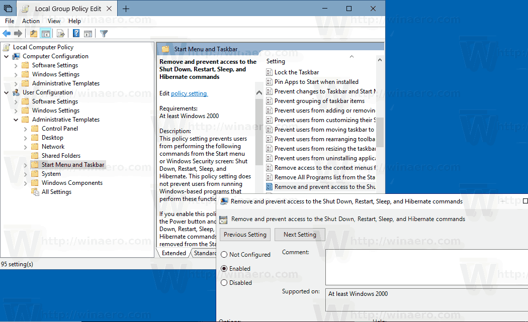 Disable Shut Down, Restart, Sleep, And Hibernate In Windows 10