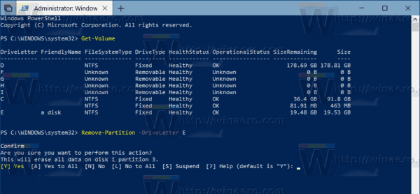 Remove Partition PowerShell