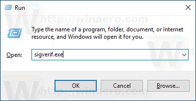 Run Sigverif Windows 10