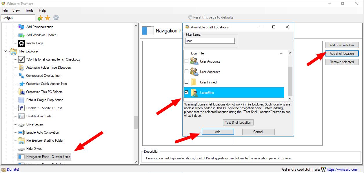 User Folder Navigation Pane Winaero Tweaker