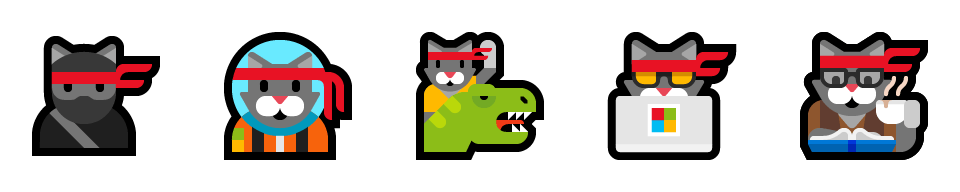 5 of the 6 ninja cat emoji – the original, astro cat, cat with t-rex, hacker cat, and hipster cat.