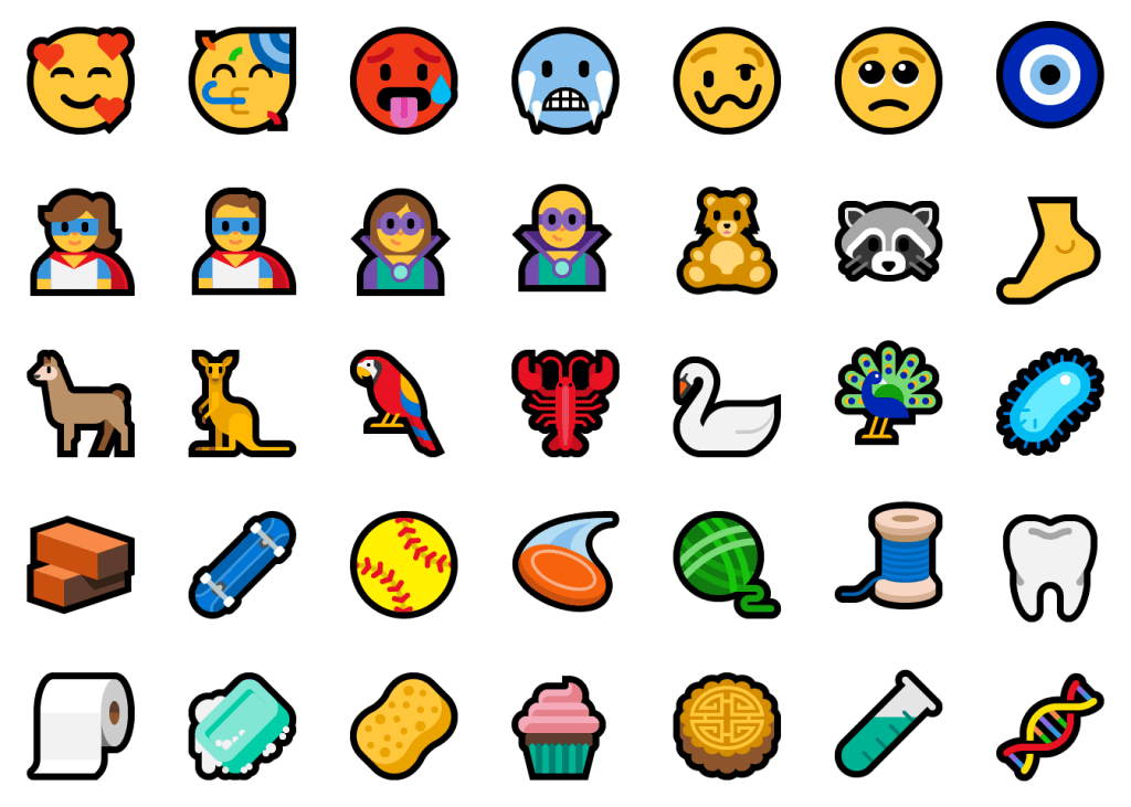 Alt text: Showcasing 35 of the 157 new emoji. Including kangaroo, cupcake, sponge, tooth, raccoon, foot.