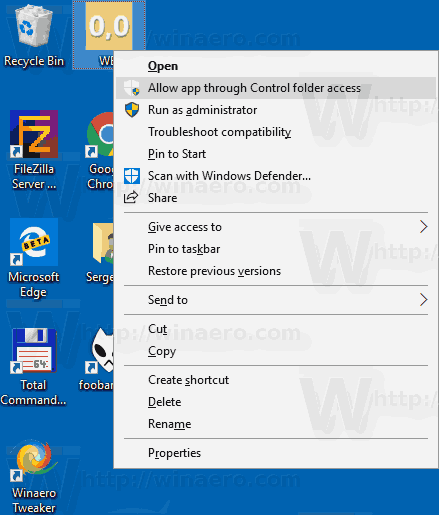 Allow App Through Controlled Folder Access Context Menu