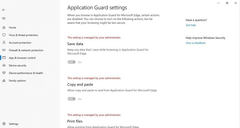 Configure Or Check Application Guard Settings