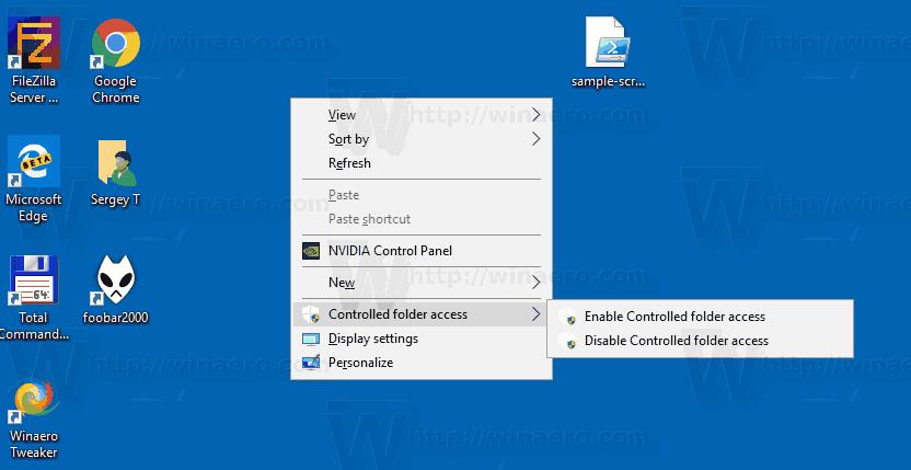 Controlled Folder Context Menu Windows 10