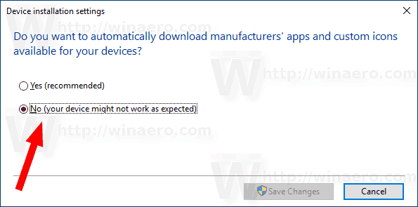 Disable Device Driver Automatic Installation In Windows 10