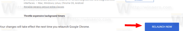 Google Chrome Relaunch Button