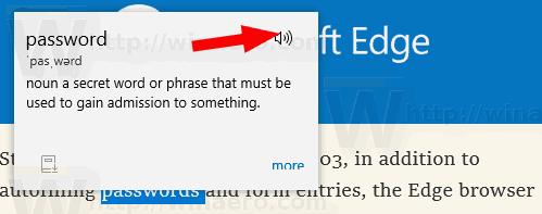 Microsoft Edge Lookup Definition Speaker Icon