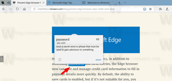 Microsoft Edge Lookup Definitions