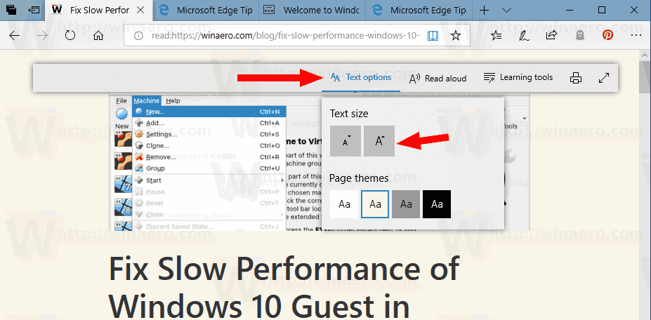 Microsoft Edge Reading View Text Size