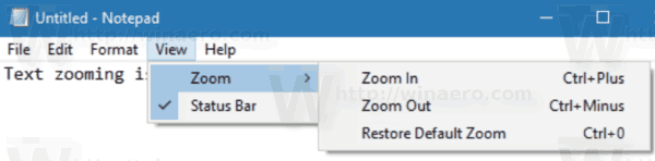 Notepad View Zoom Menu