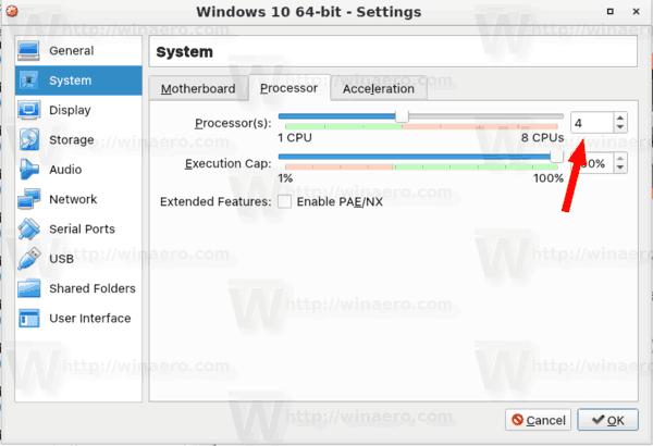 VirtualBox Increase Cpu Cores