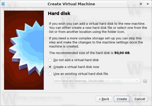 VirtualBox Machine Disk