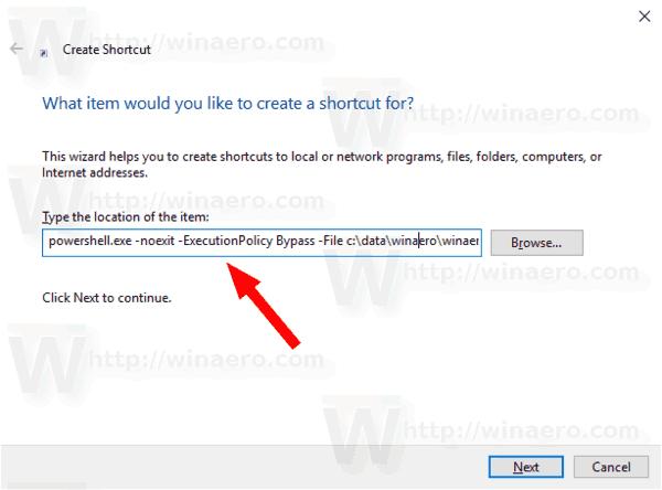 Windows 10 Create PowerShell Script Shortcut