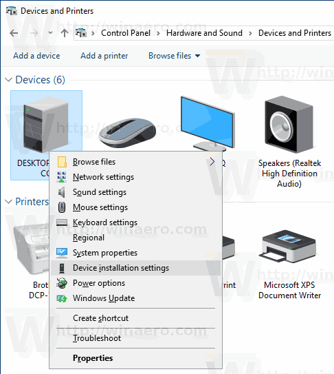 Windows 10 Device Installation Settings