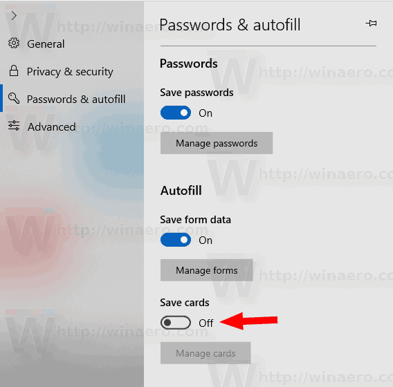 Prevent Edge Browser From Saving Credit Card Data