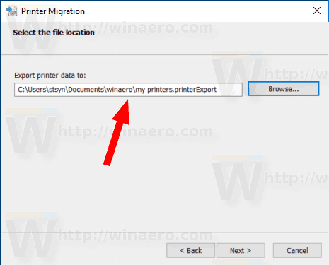 Windows 10 Export Printers Specify File Location