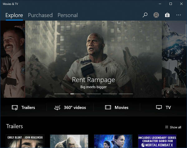 Windows 10 Movies And TV Dark Theme