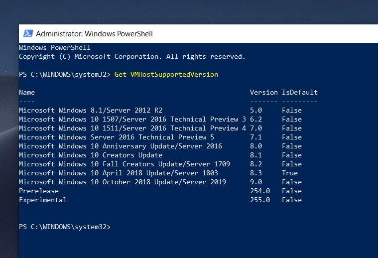 Windows 10 October 2018 Update PS