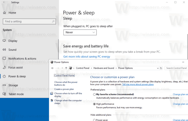 Windows 10 Power Options Power Sleep Control Panel
