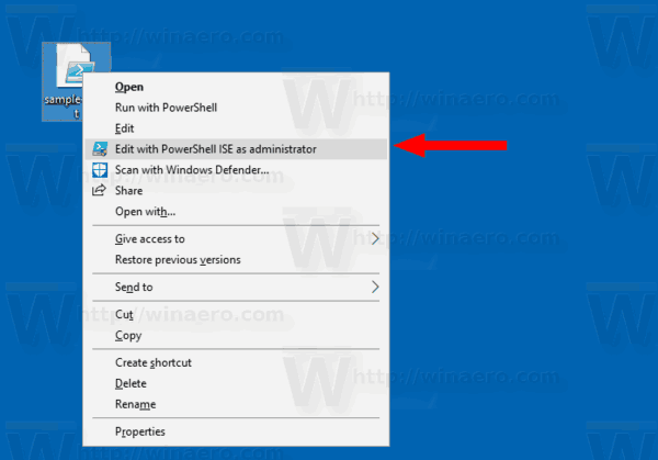 Add Edit with PowerShell ISE as Administrator Context Menu