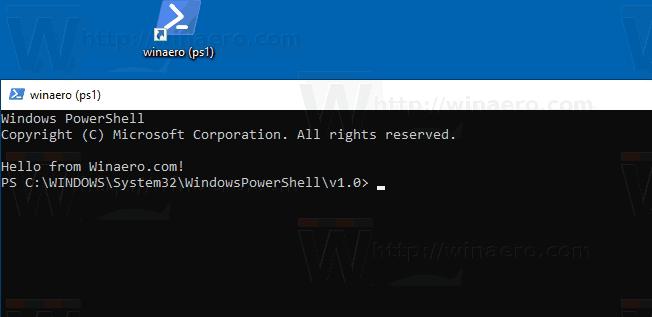 Windows 10 PowerShell Script Shortcut In Action