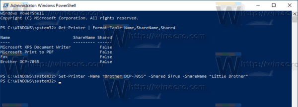 Windows 10 PowerShell Share A Printer
