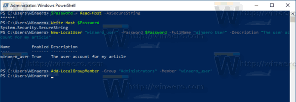 Windows 10 PowerShell Add User To A Group
