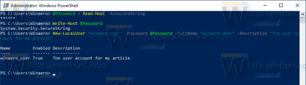 Windows 10 PowerShell Create A Password Protected Account